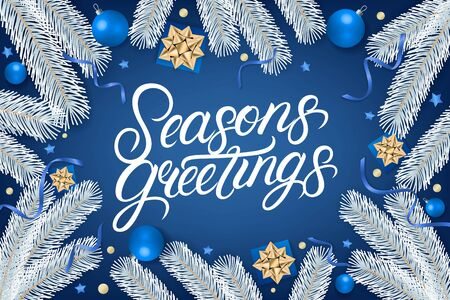 Seasons Greetings hand written lettering text. Calligraphy quote on blue background with gift box, shiny golden bow, ribbons, sparkling confetti and white christmas tree branches. Vector illustration Illusztráció