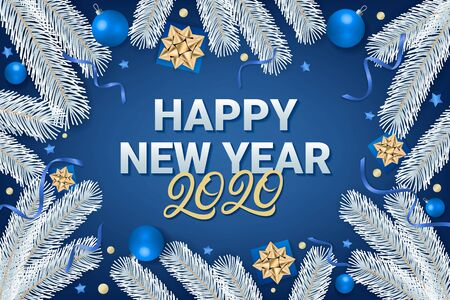 Happy New Year 2020 lettering text on blue background with gift box, shiny golden bow, ribbons, sparkling confetti and white christmas tree branches. Use for greeting card, calendar, invitation. Vector illustration.