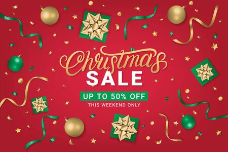 Christmas Sale 50 off gorizontal poster, flyer, banner on red background with gift box, shiny golden bow, ribbons, sparkling confetti. Realistic festive style. Vector illustration.