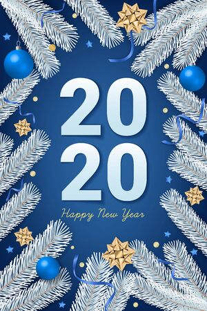 2020 Happy New Year text on blue background with gift box, shiny golden bow, ribbons, sparkling confetti and white christmas tree branches. Use for greeting card, calendar, invitation. Vector illustration. Illusztráció
