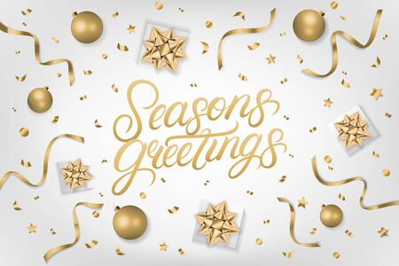 Seasons Greetings 2020 hand written lettering text. Calligraphy quote on gray background with gift box, shiny golden bow, ribbons, sparkling confetti. Realistic festive style. Vector illustration