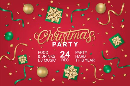 Merry Christmas Party gorizontal poster, flyer, invitation on red background with gift box, shiny golden bow, ribbons, sparkling confetti. Realistic festive style. Vector illustration. Illusztráció