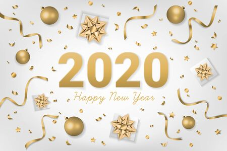 2020 Happy New Year text on gray background with gift box, shiny golden bow, ribbons, sparkling confetti. Use for greeting card, calendar, invitation. Realistic festive style. Vector illustration. Illusztráció