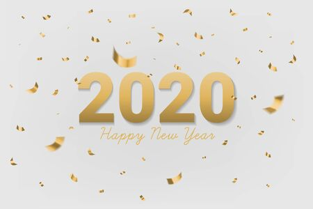 2020 Happy new year golden text with shining glitter confetti on gray background. Use for greeting card, calendar, invitation. Realistic festive style. Vector illustration.