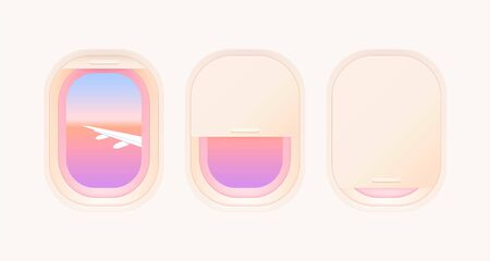 Set of aircraft windows. Portholes of airplane. Interior of aircraft with airplane wing and beautiful gradient sunset of view from window. Vector illustration. 일러스트