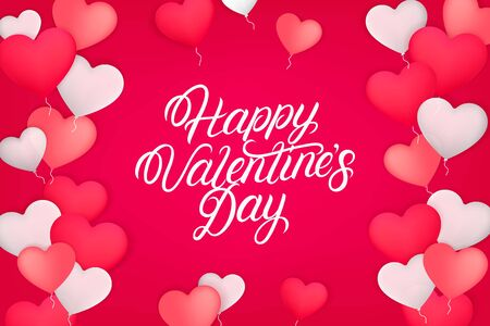 Happy valentines day background. Red, pink and white gel balloons in the shape of a heart with hand written lettering text. Realistic 3d style. Vector illustration.