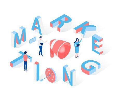 Konzept der Marketingkommunikation. Große Buchstaben, kleine isometrische Leute, Ziel und Lautsprecher. Trendiger flacher isometrischer 3D-Stil. Vektor-Illustration.