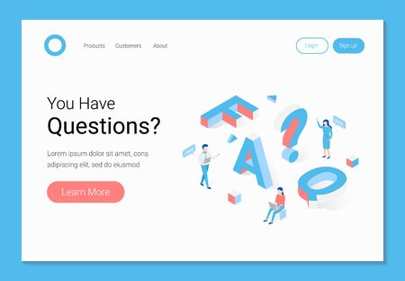 FAQ, frequently asked questions section, questionnaire or quiz opinion, query concept. Trendy flat 3d isometric style. Landing page template. Vector illustration. Vetores