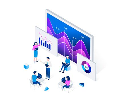 Data analysis isometric concept. People interacting with charts and analyzing statistics. Analysts work on laptops. Trendy flat 3d isometric style. Vector illustration.