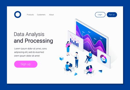 Data analysis isometric concept. People interacting with charts and analyzing statistics. Analysts work on laptops. Landing page template. Trendy flat 3d isometric style. Vector illustration.