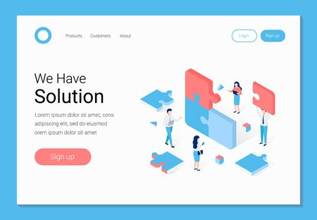 We have solution concept. Isometric people assemble pieces of puzzle. Trendy flat 3d isometric style. Landing page template. Vector illustration.