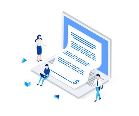 Electronic invoice, notice of payment isometric concept., Laptop with a check coming out of the screen. Office man and woman characters. Trendy 3d flat style. Vector illustration.