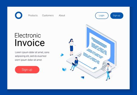 Electronic invoice, notice of payment isometric concept. Laptop with a check coming out of the screen. Office man and woman characters. Landing page templates. Trendy 3d flat style vector illustration Ilustrace