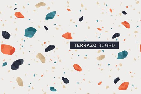 Terrazo modern print background. Different shapes seamless pattern. Burnt orange trendy warm terracotta color palette. Vector illustration.