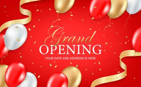 Grand opening party invitation card, poster, flyer with golden sparkles confetti, gold, silver and red balloons on red background. Realistic 3d style. Vector illustration Ilustración de vector