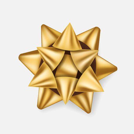 Gift bow. Golden ribbon present box decoration. Superior for birthday, christmas celebration design. Realistic 3d style. Vector illustration. Ilustracje wektorowe