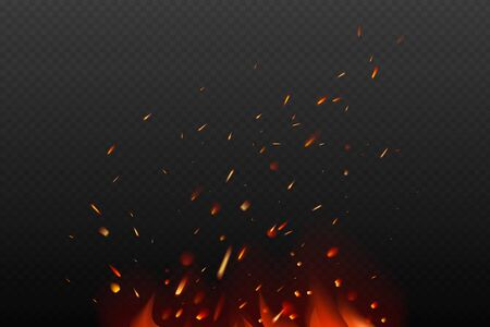 Flying fiery sparks on transparent dark background. Burning fire flames. Glowing particles. Realistic style. Vector illustration. Illustration