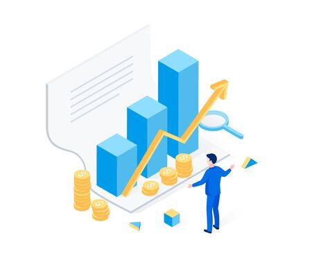 Financial statement isometric concept. Successful investment, profit, business success. The man is happy to receive a report. Trendy flat 3d isometric style. Vector illustration.
