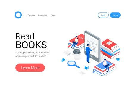 Media book library isometric concept. A man reads text from an e-book. People are sitting on stacks of books. Trendy flat 3d isometric style. Landing page template. Vector illustration. Illustration