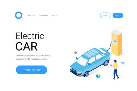 Electric car parking isometric concept. A man waits for the battery of his electric car to be charged. Trendy flat 3d isometric style. Landing page template. Vector illustration.
