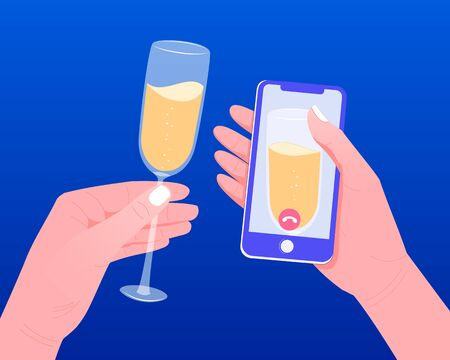 Quarantine isolation concept COVID-19. A human hand holds a smartphone with a video call on the screen. Video chat with friends. Online party with a glass of wine. Flat style. Vector illustration.