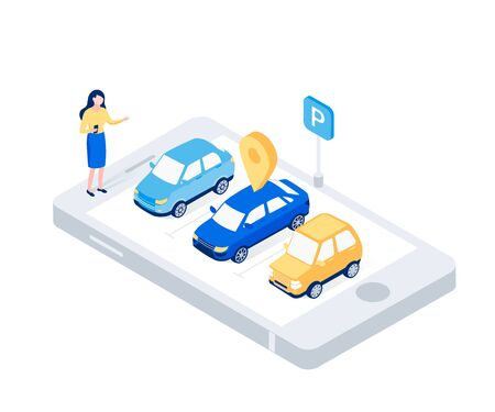 Car sharing isometric concept. Woman in a parking lot looking for a car with map mark. Modern auto rental car. Trendy flat 3d isometric style. Vector illustration.