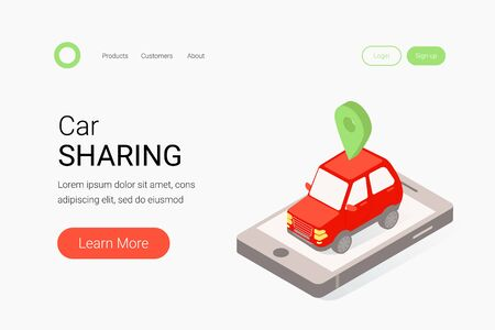 Car sharing isometric concept. Red car, smartphone and map mark. Modern auto rental car. Trendy flat 3d isometric style. Landing page template. Vector illustration.
