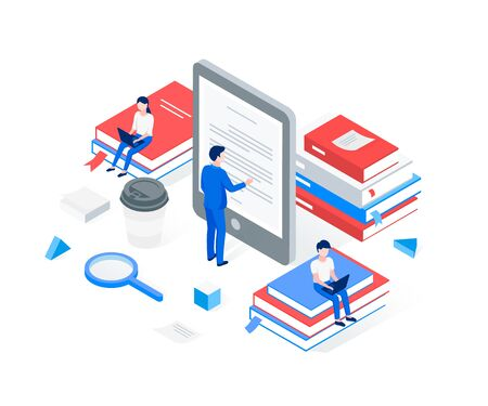 Media book library isometric concept. A man reads text from an e-book. People are sitting on stacks of books. Trendy flat 3d isometric style. Vector illustration. Illustration