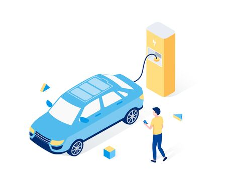 Electric car parking isometric concept. A man waits for the battery of his electric car to be charged. Trendy flat 3d isometric style. Vector illustration. Ilustrace
