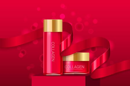 Cosmetic face serum and cream boxes with red ribbon. Premium ads. Skin cream golden bottle isolated on red sparkly and shiny background. Color container with lid. Realistic style. Vector illustration.