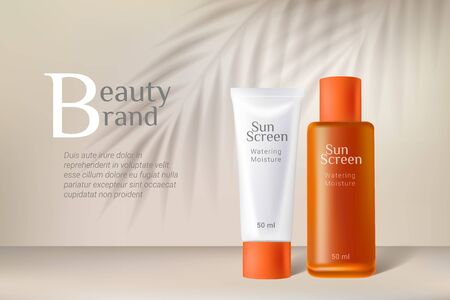 Cosmetic sunscreen bottles template. Premium ads. White and orange bottles isolated on beige background with palm leaves shadow. Realistic 3d style. Vector illustration