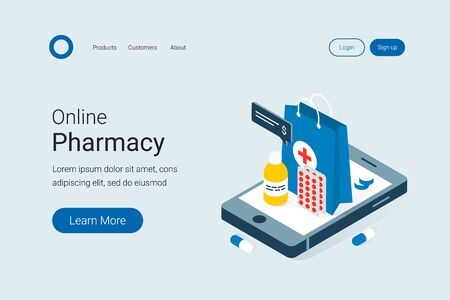 Modern online pharmacy and drugstore concept. Drugs delivery. Pills, capsules and other medicine on big smartphone. Trendy flat 3d isometric style. Landing page template. Vector illustration.