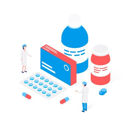 Modern pharmacy and drugstore concept. Medicaments, drugs, pills, capsules and medical staff people. Trendy flat 3d isometric style. Vector illustration.