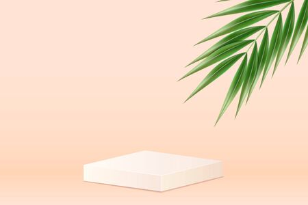 White square podium. Pedestal in pastel colored room with realistic green tropical palm leaf. Realistic 3d style. Vector illustration.