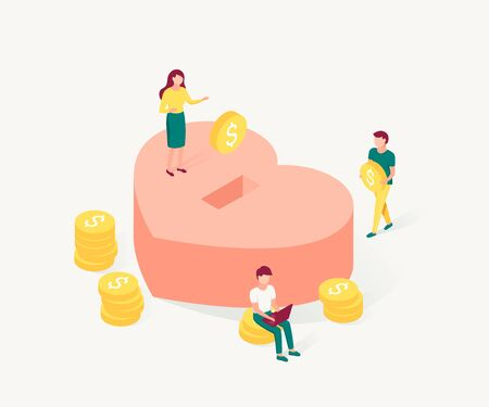 Donation and charity isometric concept. Small people make donations. Trendy flat 3d isometric style. Vector illustration.