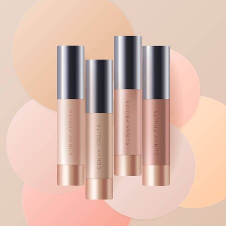 Concealer, foundation cosmetic ads template. Cosmetic bb or cc cream tube with colorful circles of paper background. Beige bottle isolated on background. Realistic 3d style. Vector Illustration
