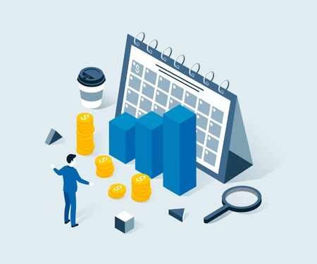Investment, business planning, risk management, profit, business success isometric concept. The man plans big incomes. Trendy flat 3d isometric style. Vector illustration.