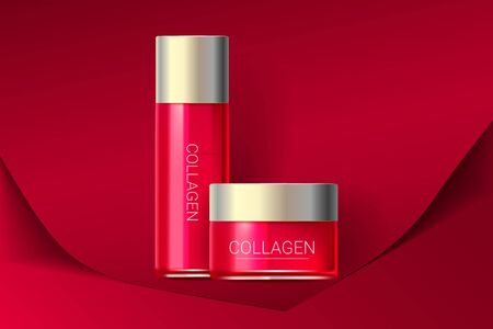 Cosmetic face cream and toner, essence box. Premium ads. Skin cream bottle isolated on red paper background. Color container with lid. Realistic style. Vector illustration.