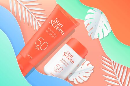 Sunscreen tubes ads template. Cosmetic sunscreen boxes with paper tropical palms leaves and waves background. Orange and white bottles isolated on background. Realistic 3d style. Vector illustration. Illustration