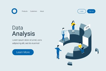 Data analysis, statistics isometric concept. People interacting with charts and analyzing statistics. Trendy flat 3d isometric style. Landing page template. Vector illustration. Illustration
