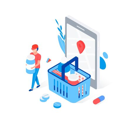 Modern pharmacy and drugstore concept. Supermarket grocery cart with drugs and pills, smartphone with map mark. Man carries medicine. Trendy flat 3d isometric style. Vector illustration.