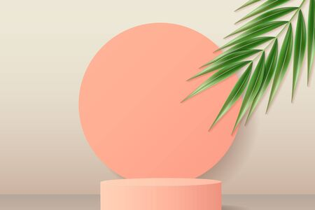 Peach round podium and circles background. Pedestal in pastel colored room with realistic green tropical palm leaf. Realistic 3d style. Vector illustration.