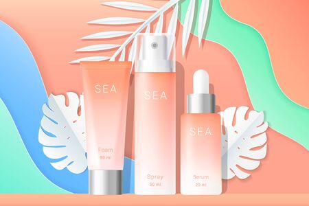 Cosmetics spray and cream tubes ads template. Cream, spray and serum boxes with paper tropical palms leaves and waves background. Gradient orange and white bottles isolated. Realistic 3d style. Vector