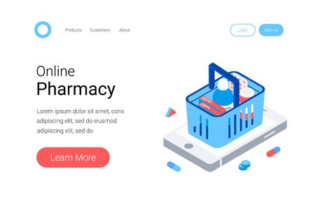 Modern pharmacy and drugstore concept. Supermarket grocery cart with drugs and pills on big smartphone. Trendy flat 3d isometric style. Landing page template. Vector illustration.
