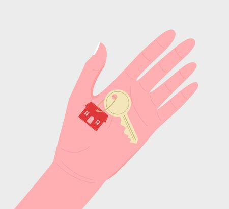 Home rental, real estate investment, home purchase, mortgage, house sitting concept. Hand giving key for house. Trendy flat style. Vector illustration.