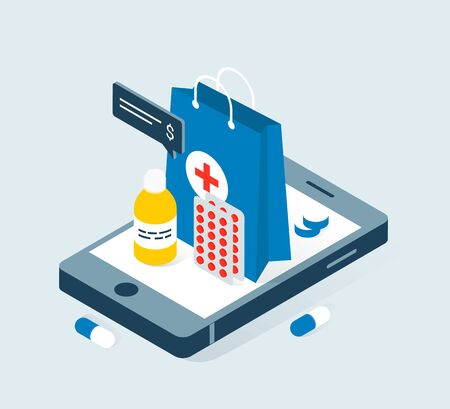Modern online pharmacy and drugstore concept. Drugs delivery. Pills, capsules and other medicine on big smartphone. Trendy flat 3d isometric style. Vector illustration.