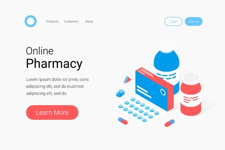Modern pharmacy and drugstore concept. Medicaments, drugs, pills, capsules and medical staff people. Trendy flat 3d isometric style. Landing page template. Vector illustration. Illustration
