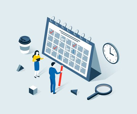 Deadline, time planning isometric concept. Time to work. Time management project plan schedule. Trendy flat 3d isometric style. Vector illustration. Illustration