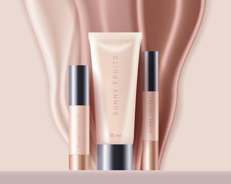Concealer, foundation cosmetics ads template. Cosmetic bb or cc cream tubes with colorful beige drips. Template of packaging for cosmetics product. Premium ads. Beige bottles isolated on background. Realistic 3d style. Vector illustration. Illustration