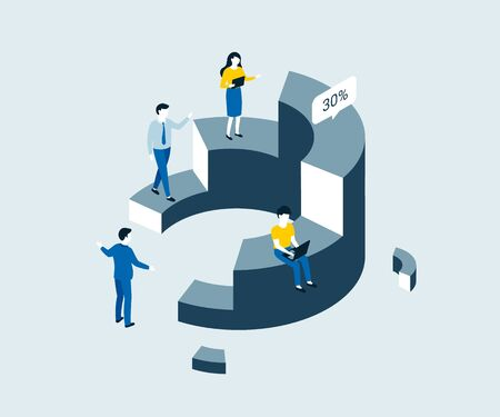 Data analysis, statistics isometric concept. People interacting with charts and analyzing statistics. Trendy flat 3d isometric style. Vector illustration.